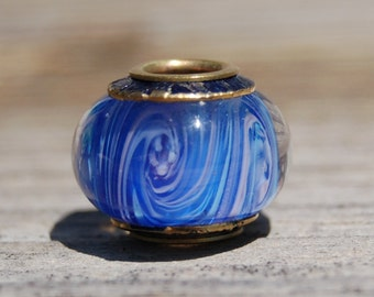 Soothing Blue - Capped & Cored Dan O Lampwork Bead for european style add a bead chains