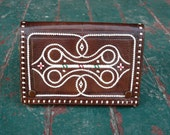 Vintage boho brown leather wallet coin purse