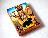 Wood Block Art Print, ACEO ATC Frida and Black Cat Day of the Dead Art Print Ilustration, Artist Trading Card, Watercolor, Yellow Blue Black