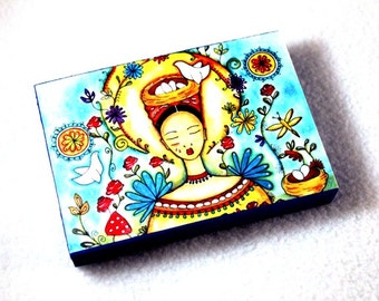 Art Print on Wood Block, Peasant Girl Day of the Dead Storybook Art Print, ACEO ATC Artist Trading Card, Mexican Art, Blue Yellow