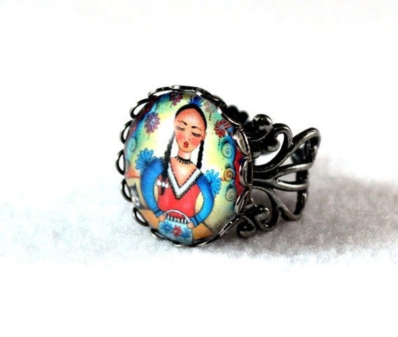 Day of the Dead Ring, Mexican Peasant Girl Art, Antique Silver Filigree Cocktail Ring Jewelry, Art Print Under Glass, Red Blue