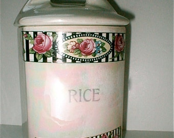 Vintage Czech Rice Cannister - Ceramic China Kitchenware - Vintage 40s Chic