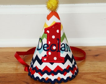 First birthday hat - Rainbow Chevron in red, navy blue, green, yellow - Free personalization