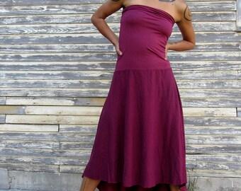 ORGANIC Love Me 2 Times Wanderer Mullet Below Knee Dress ( light hemp and organic cotton knit ) - organic hemp clothing