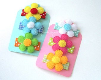 Infant Hair Clips / Baby Hair Clips / Newborn Hair Bow Clips / SIX Petite Bright Spring Flower Varity Pack Itty Bitty Hair Clips