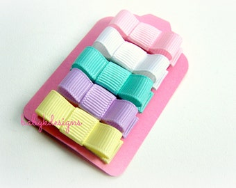 Newborn Baby Girl Pastel Spring Bow Hair Clips No Slip Snap or Alligaor Clips | Set of 5 Pink, White, Yellow, Blue n Purple or U PICK