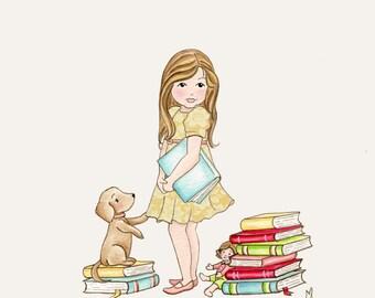Childrens Art Print Nursery Decor Time To Read Print