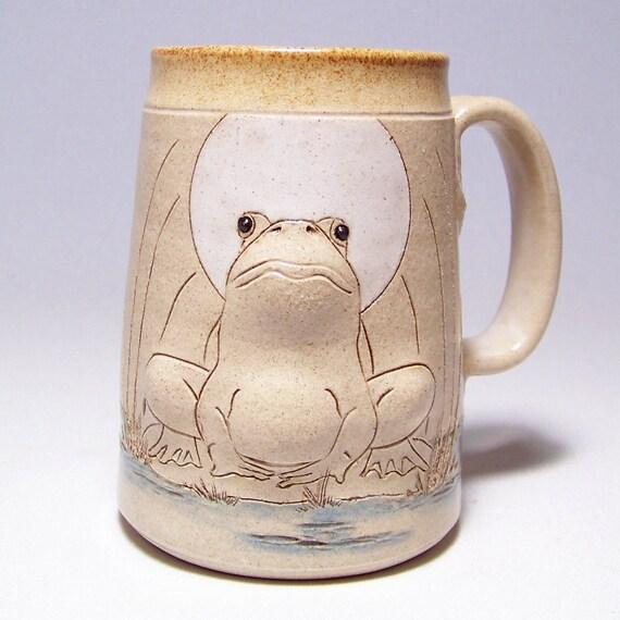Bull Frog  Handmade Pottery Mega Coffee Mug Limited Series 192 ( microwave safe) 24oz