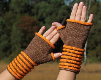 PDF knitting pattern, fingerless gloves, mitts, mittens, cowl, scarf, neckwarmer,  Round and Round cowl and fingerless mitts