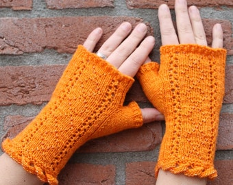Instant download PDF knitting pattern: Santenay Fingerless Mitts, mittens, gloves with lace and beads