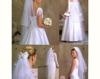 Fingertip Bridal veils Floor length Wedding veil sewing pattern Vogue 7861 Uncut