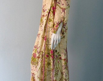 Vintage 60s Folk Dress Handmade Cotton Festive Hippie Lounge Dress M