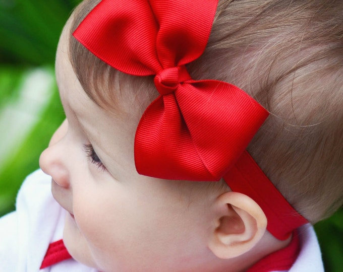 Red Bow Band - Red Bow on an Elastic Headband Baby Infant Toddler - Girls Hair Bows