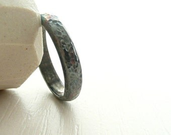 Oxidized Sterling Silver Band by Stilosissima California