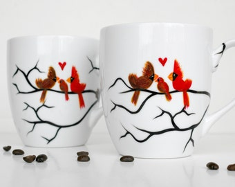 Love Birds with Baby Bird and Nest--Set of 2 Personalized Large Coffee Mugs