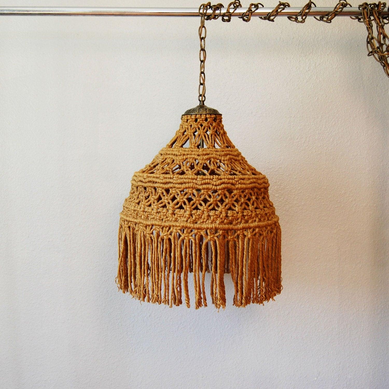vintage BOHEMIAN chandelier / 1960s MACRAME hanging light