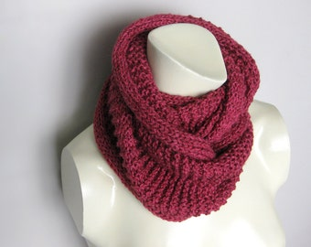 Hand Knitted Infinity Scarf Red Wine Cranberry SALE