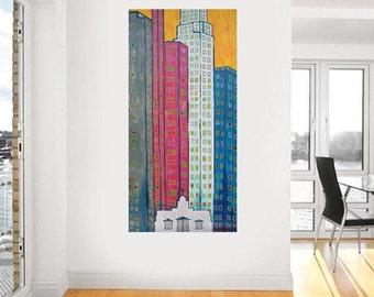 "Skyscrapers 2... original painting, 31.5x15.7"", 40x80 cm, acrylic, wood, city, building, house, abstract, fantasy"
