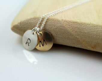 Monogram Initial Necklace, Engraved Keepsake Hand Stamped Discs In Sterling Silver & Gold Fill