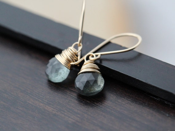 Moss Aquamarine Earrings In 14K Gold Filled Wire Wrapped March Birthstone