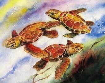 Baby Sea Turtles Watercolor Art Print by Barry Singer 8X10 Best Coastal Beach Decor