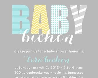 Chevron and Dots Baby Shower Invitation- PRINTABLE