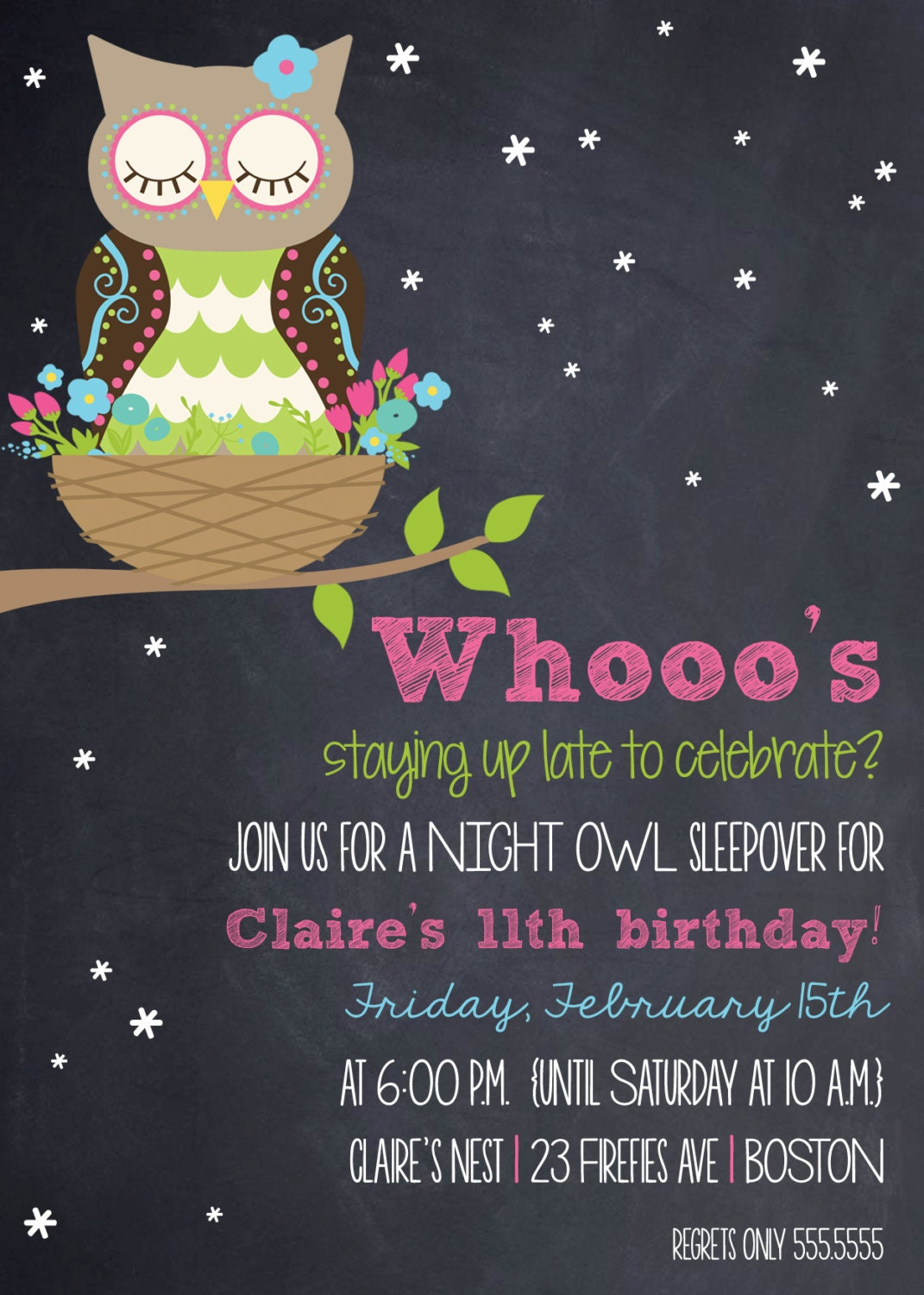 WOODLAND NIGHT OWL Sleepover Birthday Invitation Printable
