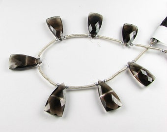 AAA Smokey Quartz with Stripe Faceted Triangular Pyramid gemstone Briolettes 20mm - Focal (1 gem bead)