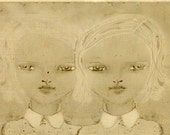 They - Twin Girls Pencil Drawing Illustration Print - Tan & Cream Mixed Media Digital Art - Two Girls with White Hair