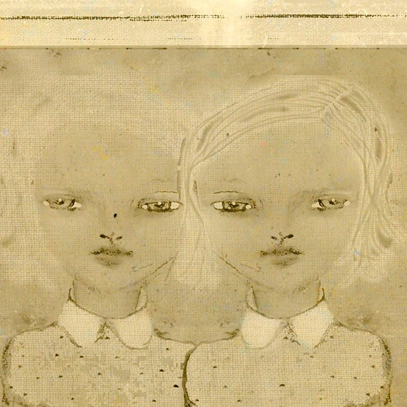 They - Twin Girls Pencil Drawing 5x7 Illustration Print - Tan & Cream Mixed Media Digital Art - Two Girls with White Hair