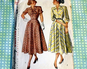 Vintage Simplicity Pattern 2429 - Classic 1940's Flared Skirt Dress, Wing Collar, Size 14