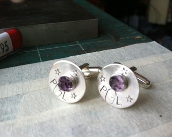 GROOM custom sterling cuff links personalized monogram stone