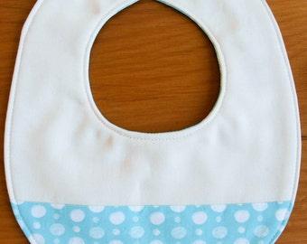 Organic Baby Bib in DOUBLE-DOT AQUA, On Sale Aqua Blue and White Polka Dot Drool Bib for Teething Babies