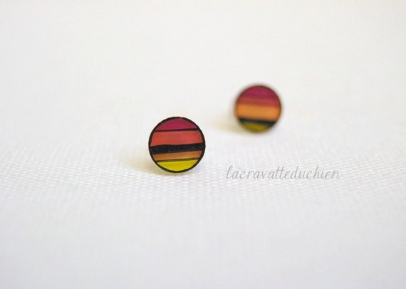 Ombre stud earrings, Geometrical round posts, Illustrated jewelry