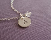 Custom birthstone initial necklace, April birthstone, crystal quartz, personalized sterling silver initial, custome genuine birthstone