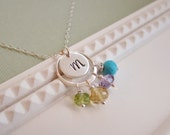 Family birthstone necklace, custom mothers necklace, personalized initial necklace, mom necklace, choose four birthstones, mothers day gift