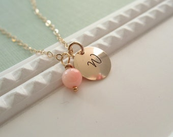 Coral gold initial necklace, custom gold initial, personalized beach wedding jewelry, pink custom necklace,