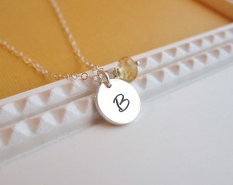 Custom birthstone necklace, personalized sterling silver initial necklace, yellow citrine, November birthstone, custom monogram necklace