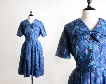 Vintage 1950s Dress - Early 1960s Mad Men Artistic Bow Day Dress - Large XL