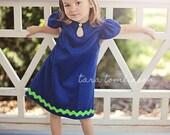 1970 Style Royal Blue Cutout Dress children girls dress
