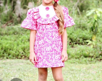 SALE!!! 1960's style Pink Print Layla dress...children,girl,clothing