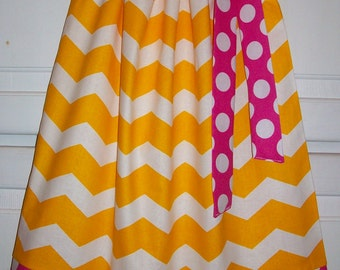 SUMMER SALE Pillowcase Dress Chevron Dress Strawberry Lemonade Party Yellow & Hot Pink Dots Girls Dresses Summer Dresses Lemonade Birthday