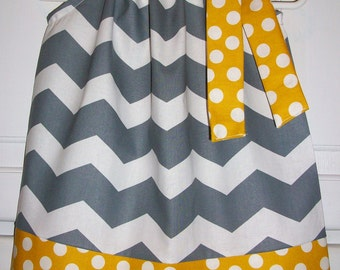 Pillowcase Dress, Chevron Dress, Gray and Mustard, Summer Dresses, Girls Dresses, Girls Clothing, Grey and Yellow, Kids Clothes, Mod Style