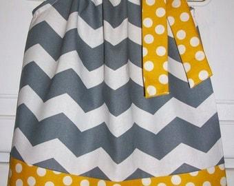 Pillowcase Dress Baby clothes Toddler dress kids clothes girls dress, Chevron dress, gray gold dress, grey mustard dress, Spring dress