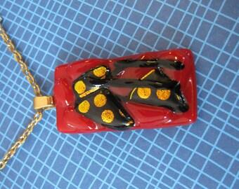Red Glass Necklace, Orange Polka Dots, Black Stripess - Spanish Lady - 1743