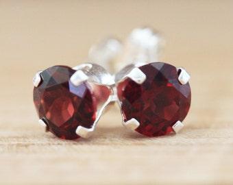 Garnet Stud Earrings  6 mm Red Garnet Sterling Silver January Birthstone Genuine Mozambique Garnet Gemstones 6mm