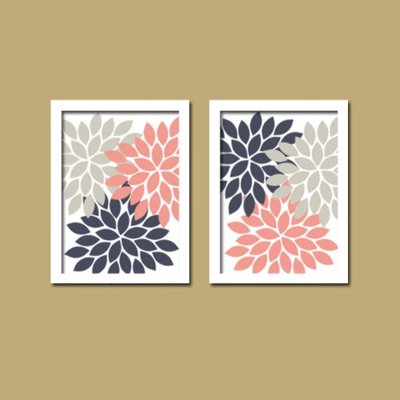 Wall Art Canvas Artwork Colorful Pink Navy Gray Grey By