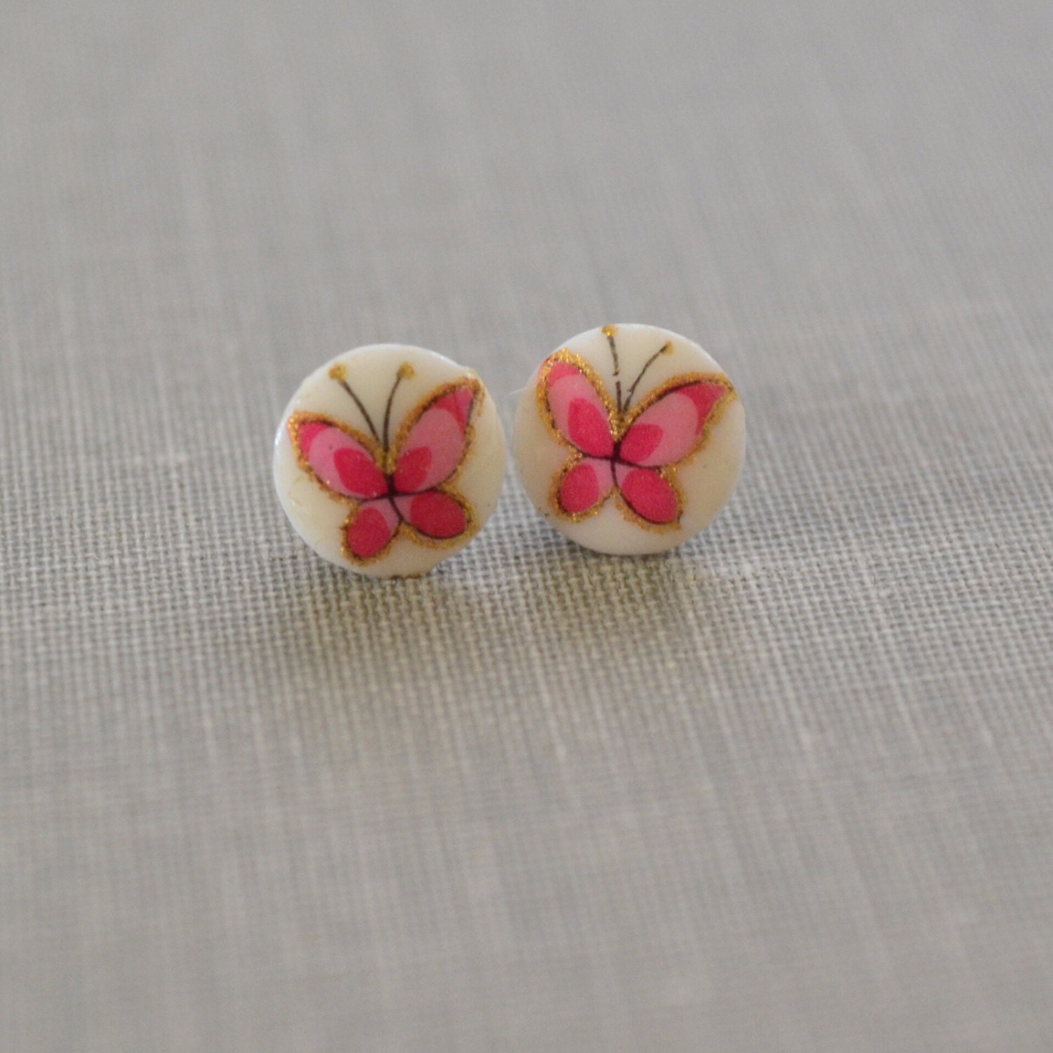 pink butterfly post earrings tiny glass cabochon sterling