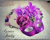 SaLe - Purple Masquerade Mask Huge Statement Necklace Neo Victorian France Italy Drama Art glitter silver filigree