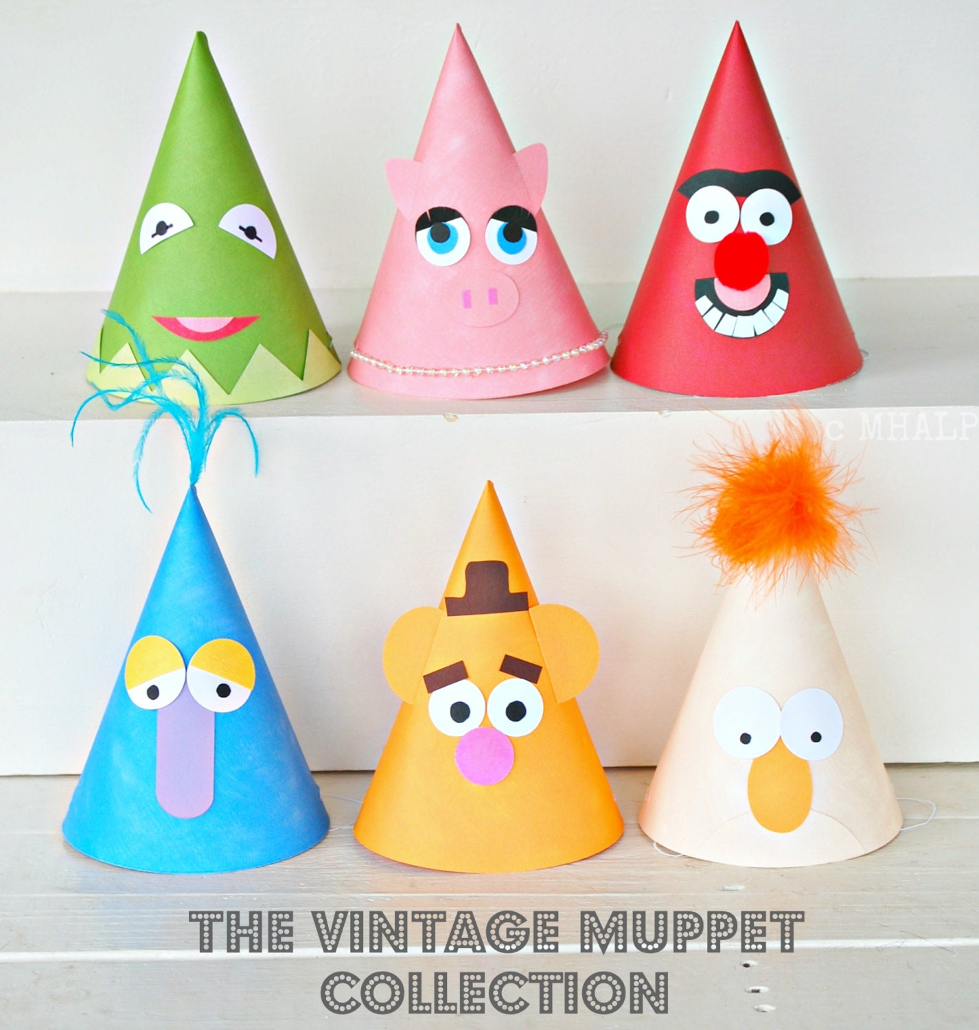 The Vintage Muppet Collection Custom Party Hats SET Of SIX